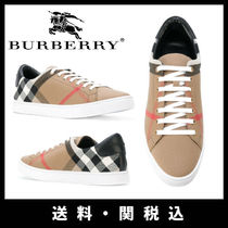 Burberry Other Check Patterns Sheepskin Street Style Sneakers