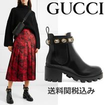 GUCCI Plain Toe Plain Leather Block Heels Chelsea Boots