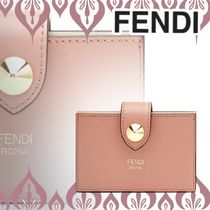 FENDI BY THE WAY Studded Plain Leather Card Holders