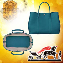 HERMES Garden Party Blended Fabrics A4 Plain Leather Elegant Style Totes