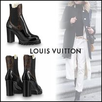 Louis Vuitton Plain Toe Plain Leather Elegant Style Chunky Heels