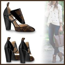 Louis Vuitton MONOGRAM Monogram Plain Toe Bi-color Leather Block Heels