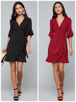 Wrap Dresses Short V-Neck Plain Party Style Puff Sleeves