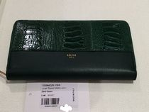 CELINE Plain Leather Long Wallets