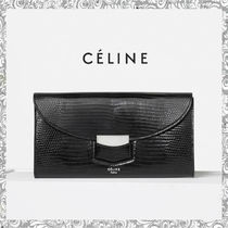 CELINE Trotteur Plain Leather Long Wallets
