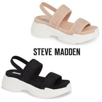 Steve Madden Open Toe Casual Style Blended Fabrics Plain Footbed Sandals