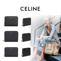 CELINE Zipped Unisex Calfskin Plain Folding Wallets