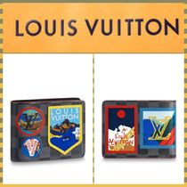 Louis Vuitton Other Check Patterns Blended Fabrics Leather Folding Wallets
