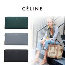 CELINE Zipped Unisex Calfskin Plain Long Wallets