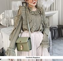 Chiffon Puffed Sleeves Plain Medium Elegant Style Khaki