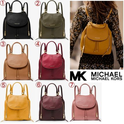 91332d908386 Michael Kors VIV 2019 SS Casual Style Plain Leather Backpacks by ...