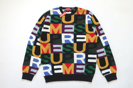 Supreme Sweaters Unisex Street Style Sweaters