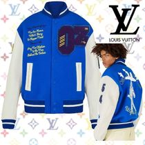 Louis Vuitton Short Blended Fabrics Street Style Leather Varsity Jackets