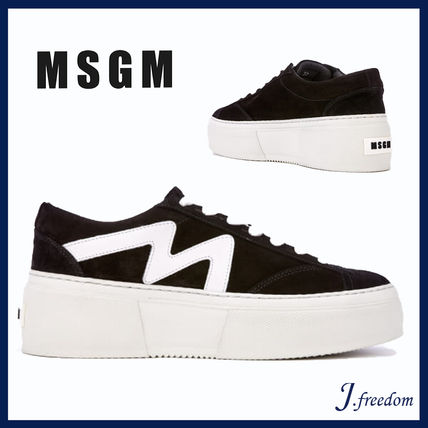 Platform Lace-up Casual Style Street Style Leather