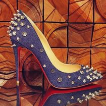 Christian Louboutin Blended Fabrics Studded Plain Leather Pin Heels