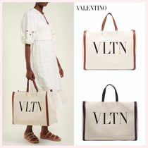 VALENTINO Casual Style Unisex Canvas A4 Plain Totes
