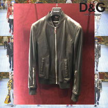 Dolce & Gabbana Short Street Style Plain Leather Biker Jackets