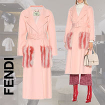 FENDI Stripes Wool Blended Fabrics Plain Long Elegant Style Coats