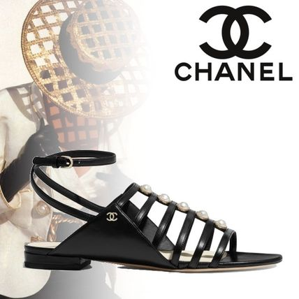 0f12400358d ... CHANEL More Sandals Blended Fabrics Plain Block Heels Elegant Style  Sandals ...