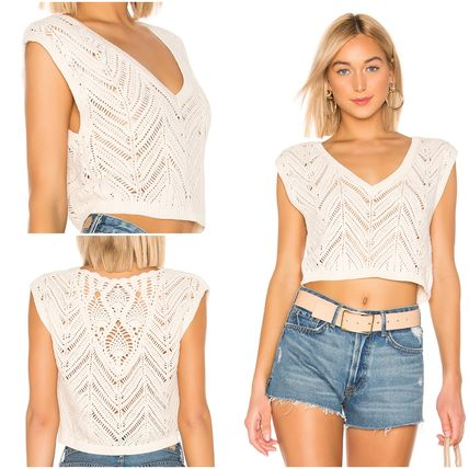 Short Casual Style V-Neck Plain Cotton Cropped
