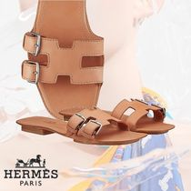HERMES Open Toe Casual Style Plain Leather Sandals
