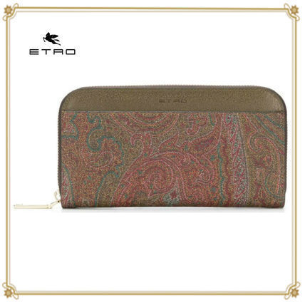 Paisley Unisex Leather Long Wallets