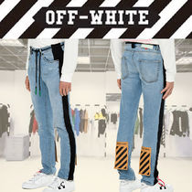 Off-White Stripes Plain Cotton Jeans & Denim