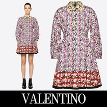VALENTINO Short Flower Patterns Casual Style Puffed Sleeves Flared
