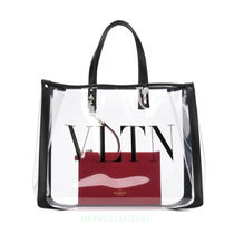 VALENTINO Studded A4 Crystal Clear Bags PVC Clothing Elegant Style