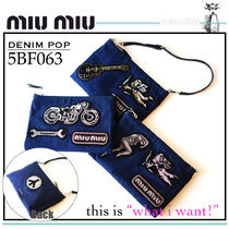 MiuMiu Canvas 2WAY Chain Plain Party Style Clutches