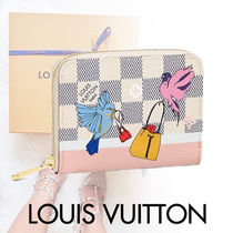 Louis Vuitton ZIPPY COIN PURSE Other Check Patterns Canvas Blended Fabrics Street Style