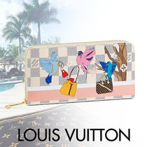 Louis Vuitton ZIPPY WALLET Other Check Patterns Canvas Blended Fabrics Street Style