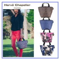 HERVE CHAPELIER Camouflage Leopard Patterns Casual Style Nylon Totes