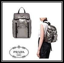 PRADA Casual Style Plain Backpacks