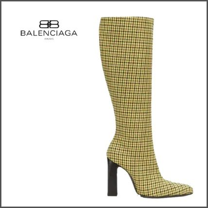 9d5062ab123 ... BALENCIAGA Over-the-Knee Zigzag Leather Block Heels Elegant Style  Over-the- ...
