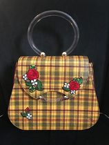 Charlotte Olympia Tartan Flower Patterns Casual Style Saffiano Backpacks