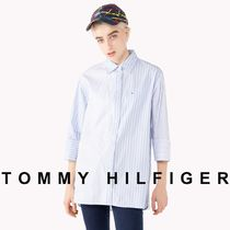 Tommy Hilfiger Stripes Casual Style Unisex Street Style Long Sleeves Cotton