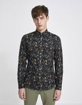 celio Flower Patterns Camouflage Long Sleeves Cotton Shirts