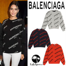 BALENCIAGA Casual Style Wool Street Style U-Neck Long Sleeves Plain
