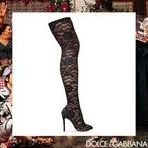Dolce & Gabbana Flower Patterns Pin Heels Elegant Style Over-the-Knee Boots