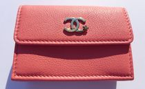 CHANEL ICON Flower Patterns Unisex Leather Folding Wallet Small Wallet