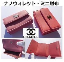CHANEL ICON Flower Patterns Unisex Leather Folding Wallets