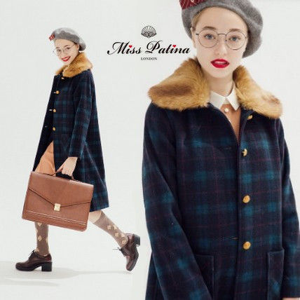 Tartan Casual Style Wool Medium Midi Coats