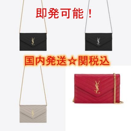 Casual Style Calfskin Street Style Chain Plain Shoulder Bags