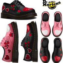 Dr Martens Heart Flower Patterns Round Toe Rubber Sole Casual Style