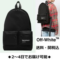 Off-White Unisex Nylon Street Style A4 Backpacks