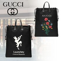 GUCCI Flower Patterns Unisex Canvas 2WAY Totes