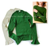 Ron Herman Rib Boat Neck Long Sleeves Cotton Sweaters