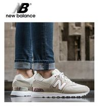 New Balance 574 Rubber Sole Casual Style Suede Street Style Plain