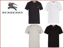 Burberry Pullovers Street Style V-Neck Plain Cotton Short Sleeves